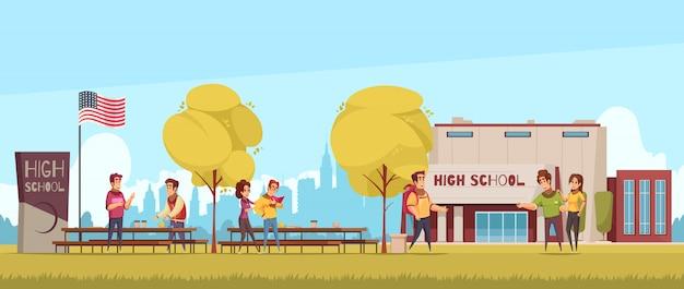 Middelbare schoolgebied met educatieve bouwstudenten tijdens mededeling over blauw hemelbeeldverhaal als achtergrond Gratis Vector