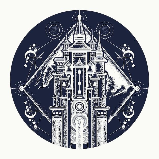 Middeleeuws kasteel en bergen tattoo Premium Vector