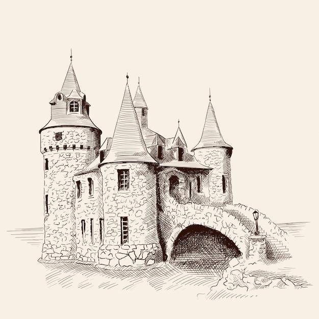 Middeleeuws kasteel en brug. Premium Vector