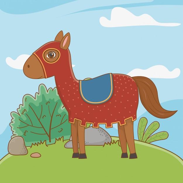 Middeleeuws paard van sprookje Gratis Vector