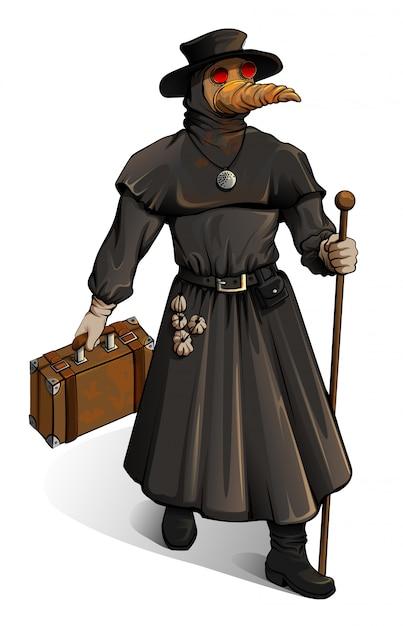Middeleeuwse arts in beschermende pak wandelingen met koffer. uitbraak cholera vintage geneeskunde steampunk stijl Premium Vector