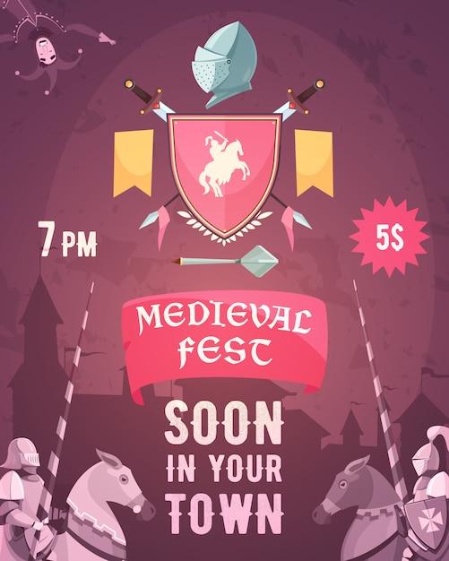 Middeleeuwse fest aankondiging poster Gratis Vector