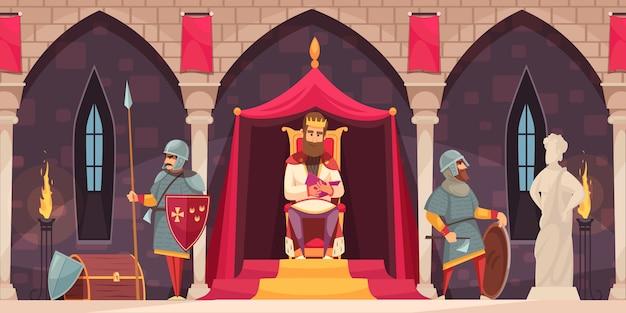 Middeleeuwse kasteel interieur platte cartoon samenstelling met bewapende ridder wapenschild bewaker Gratis Vector