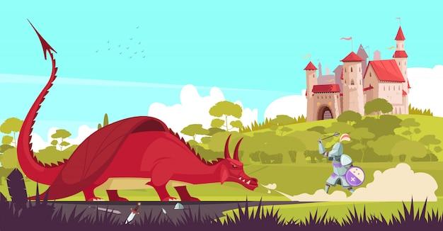 Middeleeuwse legendarische ridderstrijder die woeste draak bestrijden dichtbij kasteel om de cartoon van het prinses sprookje te redden Gratis Vector