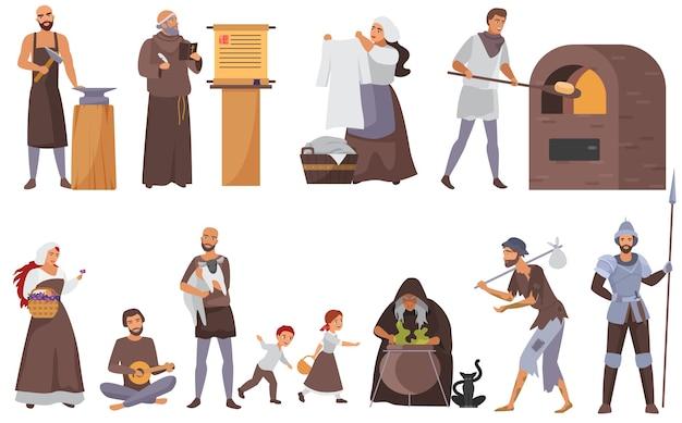 Middeleeuwse mensen ingesteld, historische personages uit de middeleeuwen Premium Vector