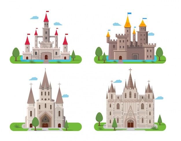 Middeleeuwse oude kastelen instellen Gratis Vector