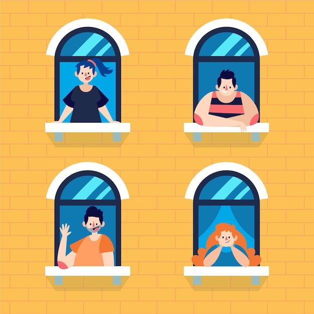 Middelgrote weergave van mensen die voor hun raam staan Gratis Vector