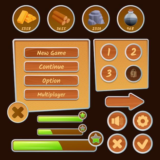 Middelpictogrammen en menu-elementen voor strategiespellen op de bruine achtergrond Gratis Vector