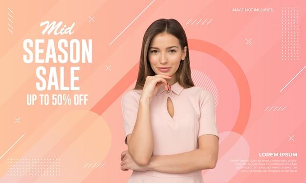 Middenseizoen verkoop banner Premium Vector