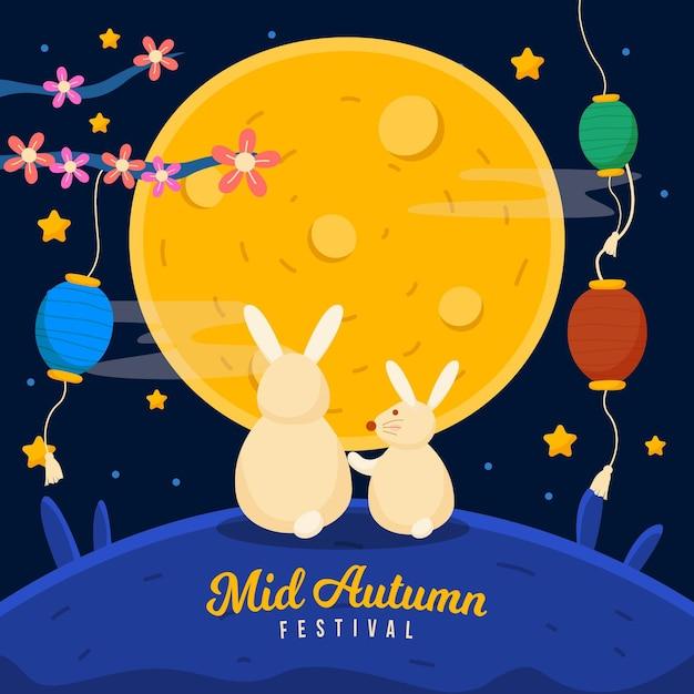 Midherfstfestivalillustratie met konijntjes en lantaarns Gratis Vector
