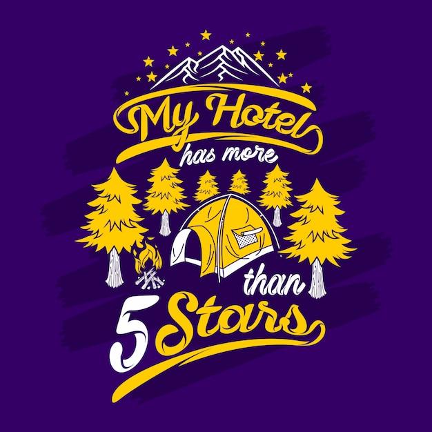 Mijn hotel heeft meer dan 5 sterren aanhalingstekens te zeggen Premium Vector
