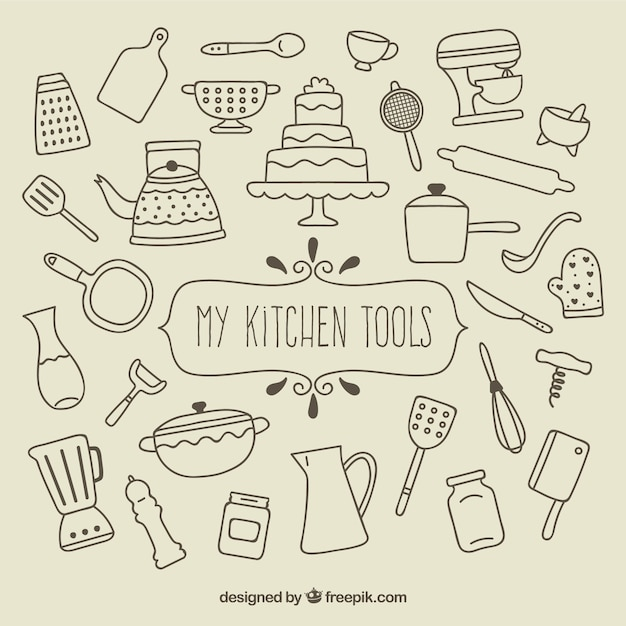 Mijn keuken gereedschappen Gratis Vector