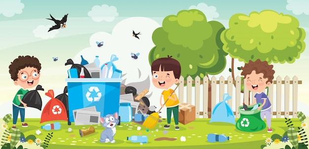 Mijn lieve kinderen, schoonmaken en recyclen van afval Premium Vector