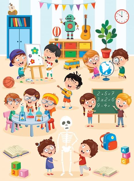 Mijn lieve kinderen studeren en spelen in voorschoolse klas Premium Vector
