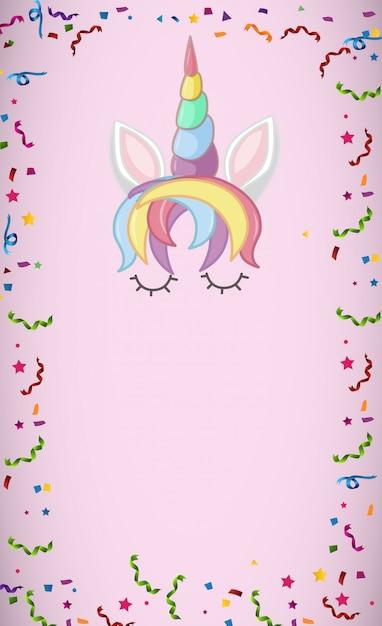 Mijn magische eenhoorn-logo in pastelkleur met lege achtergrond Premium Vector