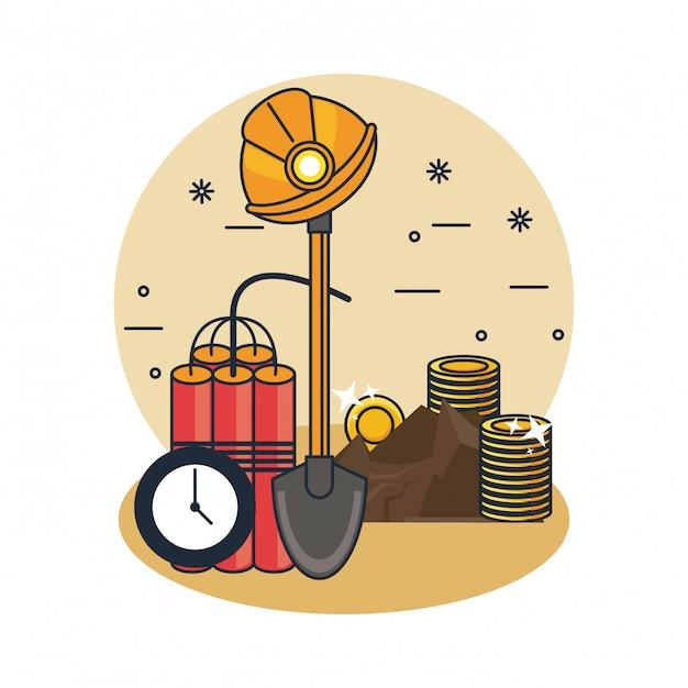 Mijnbouw en gereedschappen Premium Vector