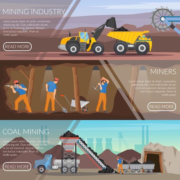 Mijnbouw horizontale platte banners Gratis Vector