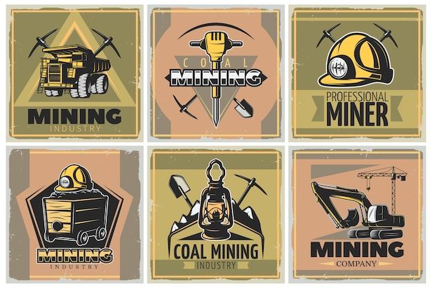 Mijnbouw illustratie set Gratis Vector