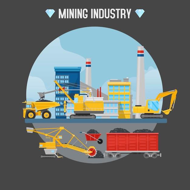 Mijnbouw illustratie. Premium Vector