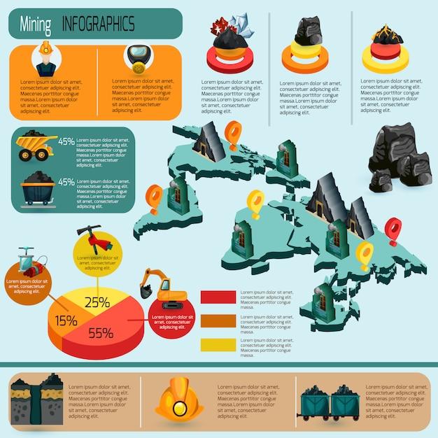 Mijnbouw infographics set Gratis Vector