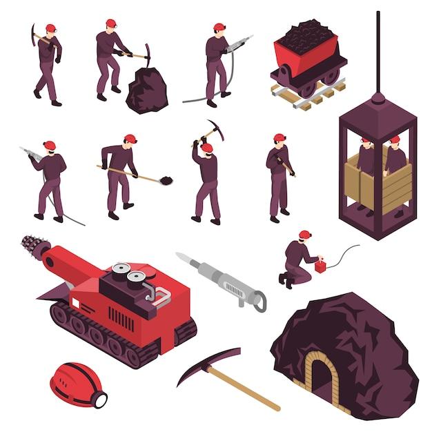 Mijnbouw isometrische elementen set Gratis Vector