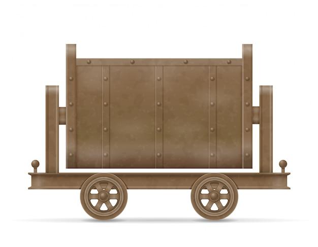 Mijnbouw kar winkelwagen vectorillustratie Premium Vector