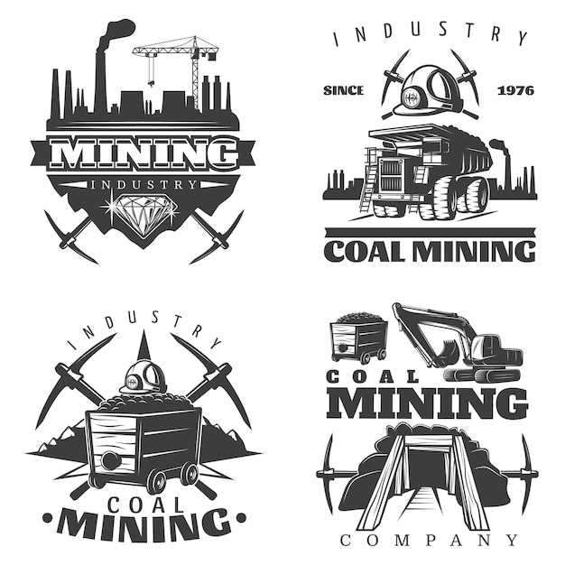 Mijnbouw logo ontwerpen instellen Gratis Vector