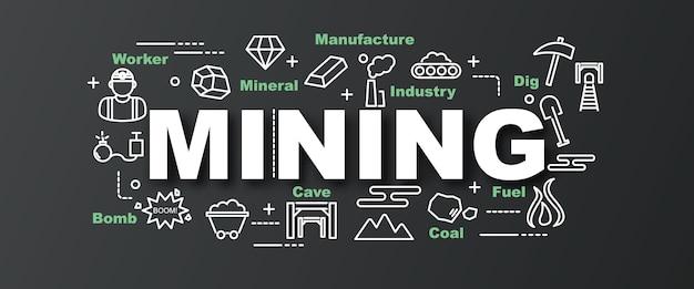 Mijnbouw vector trendy banner Premium Vector