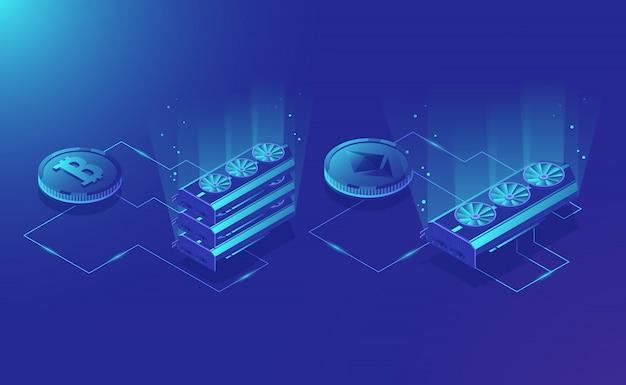 Mijnbouwapparatuur cryptocurrency, isometrisch ethereum digitaal valutakextract Gratis Vector