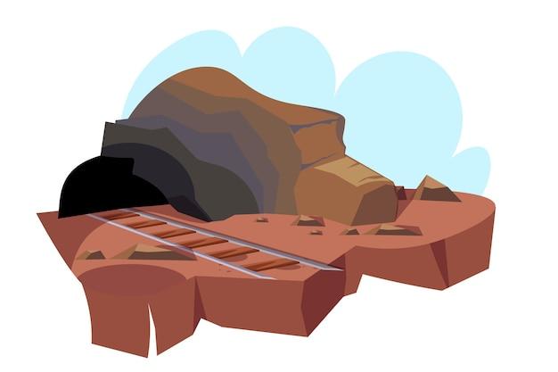 Mijnbouwgrotillustratie, mijningang met spoorwegweg naar tunnel. Premium Vector