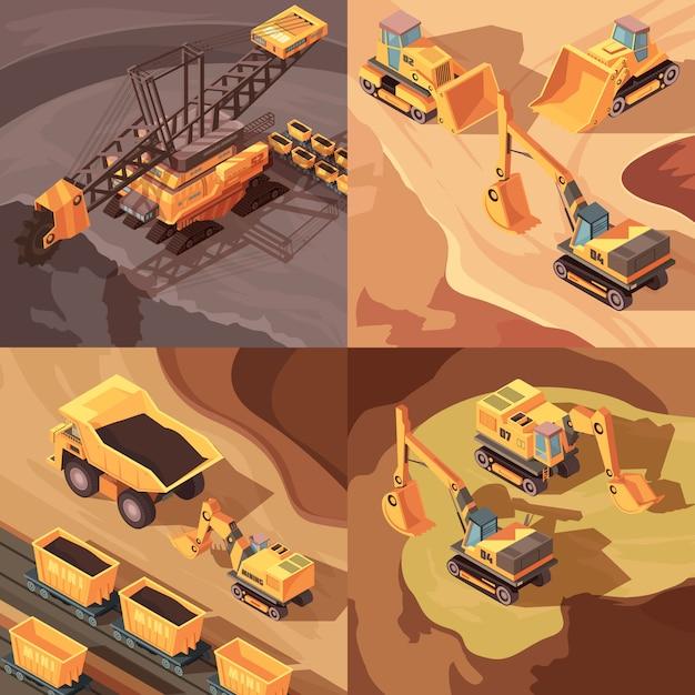 Mijnbouwset van vierkante composities met machinepark Gratis Vector
