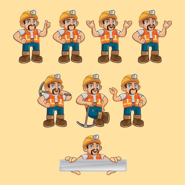 Mijnwerker vector teken in verschillende poses Premium Vector