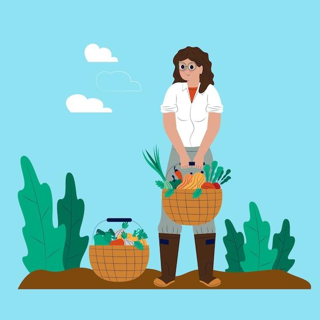 Milieu biologische landbouw concept Gratis Vector