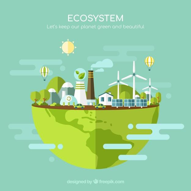 Milieu en ecosysteemconcept Gratis Vector