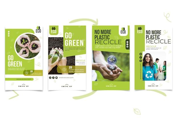 Milieu instagram-verhalen Gratis Vector