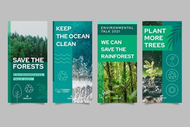 Milieu instagram verhalencollectie Premium Vector