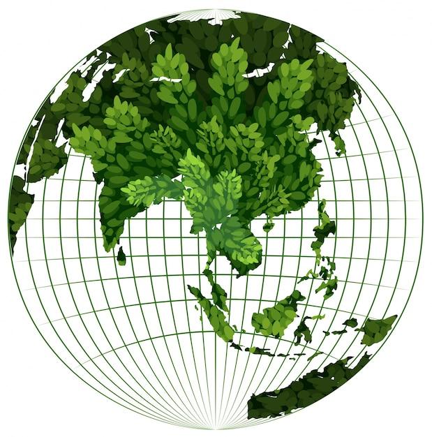 Milieu thema met plant op aarde Premium Vector