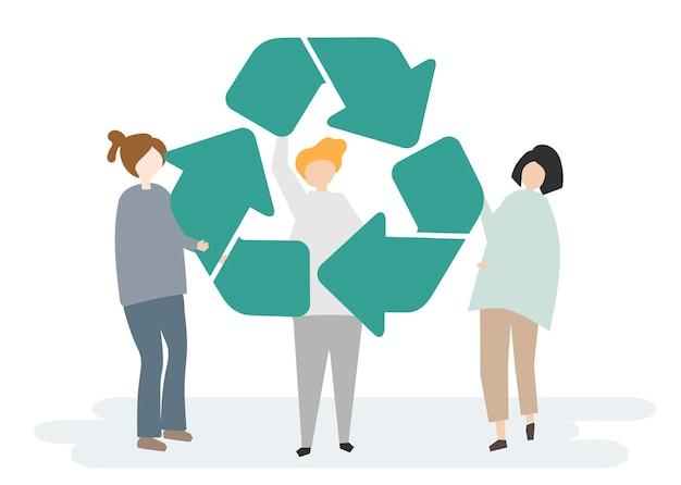 Milieubehoud en het recyclingsymbool Gratis Vector