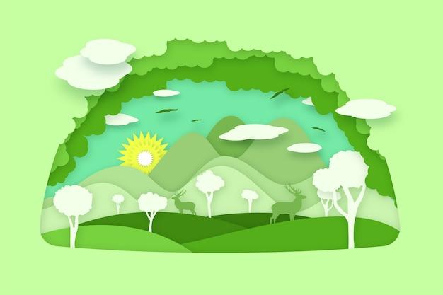 Milieuconcept in papierstijl Gratis Vector