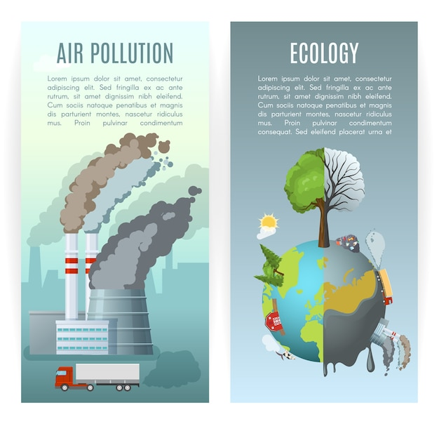 Milieuvervuiling verticale banners Gratis Vector