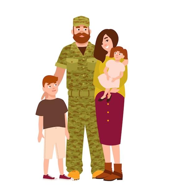 Militair man, militair of soldaat gekleed in camouflagekleding, zijn vrouw en kinderen Premium Vector