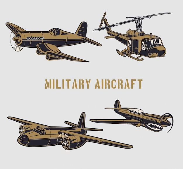 Militair vliegtuig Premium Vector