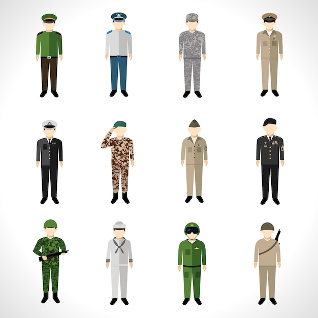 Militaire avatars set Gratis Vector