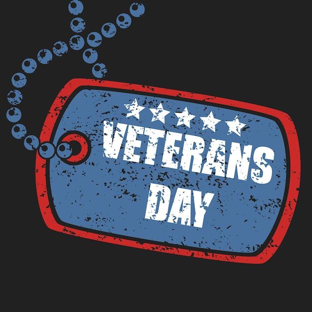 Militaire dog tag stempel van veteranen dag Premium Vector