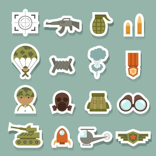 Militaire en oorlogs pictogrammen Premium Vector