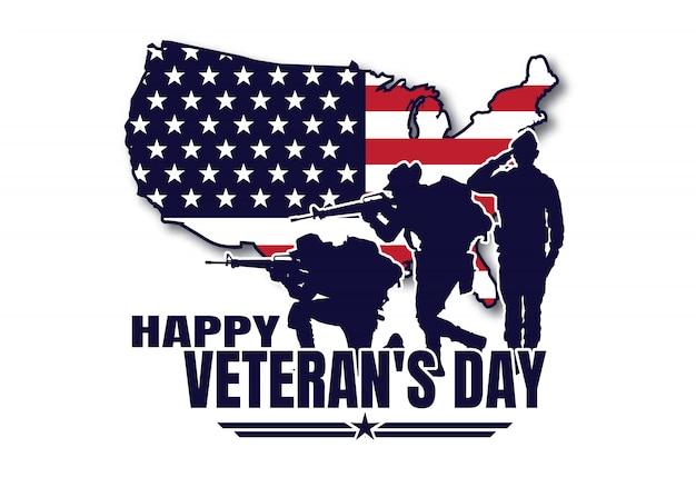 Militaire illustratie, leger achtergrond, silhouetten van soldaten, gelukkige veteranendag. Premium Vector