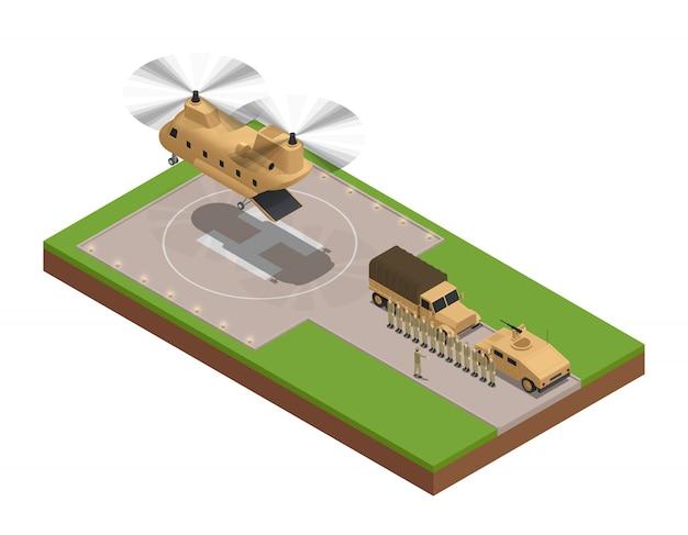 Militaire isometrische samenstelling met ogenblik landde de grote ladingshelikopter op de basis vectorillustratie Gratis Vector