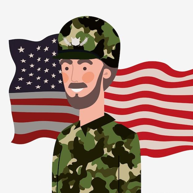 Militaire man met de vlag van de vs zwaaien Premium Vector
