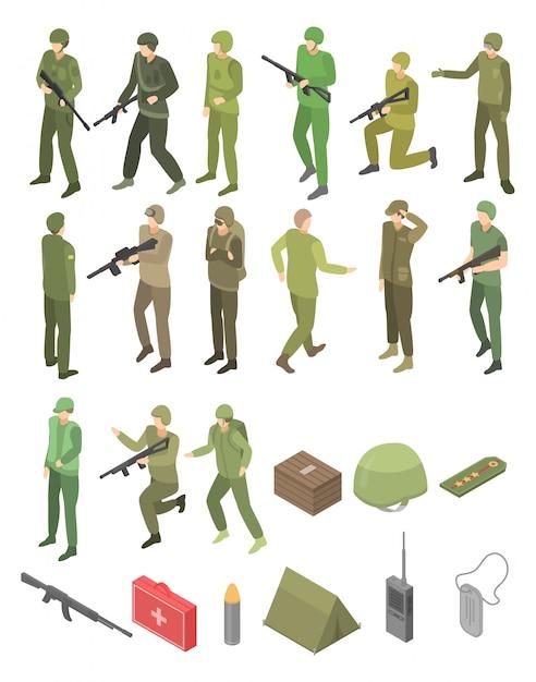 Militaire militaire geplaatste pictogrammen, isometrische stijl Premium Vector