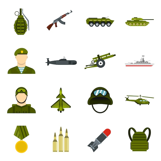 Militaire pictogrammen instellen Premium Vector